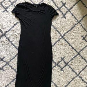 Long floor length black t shirt dress